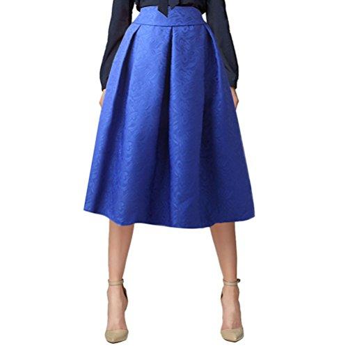 Tragen Knielangen Rock (Uideazone Vintage Retro Midi-Linie Röcke Damen knielangen Röcke Blau L)