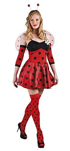 Kostüm als Marienkäfer, Minikleid - Stulpen, L/XL, Rot (Marienkäfer Schminken Für Halloween)