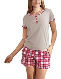 Babella 3058 Pijama De Dos Piezas Para Mujeres Camiseta De Manga Corta Shorts De Cuadros - Hecho En La UE