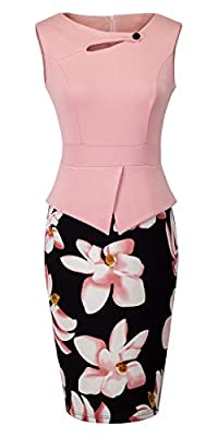 HOMEYEE Women's Vintage Cut Out Contrast Floral Evening Dress B288