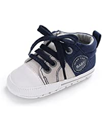 685b3f9e135 Babycute Infant Baby Boys Girls Lace Up Canvas Shoes Sneakers Soft Sole  Anti-Slip Booties Slippers First Walkers…