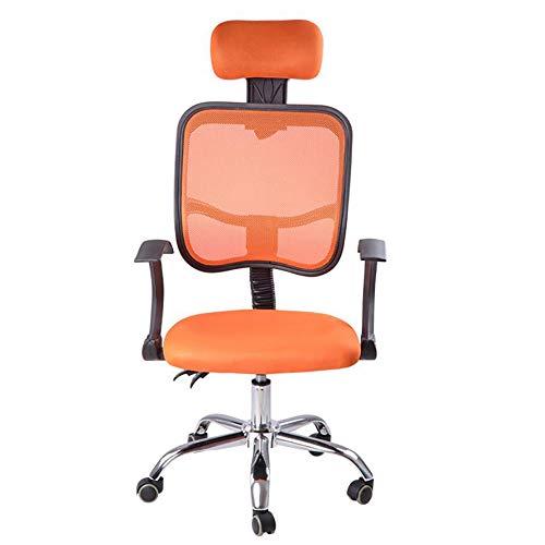 YGGB Mode Bürostuhl Ergonomisch Schreibtischstuhl Drehstuhl Chefsessel mit Netz-Design-Sitzkissen Verstellbare Wippfunktion Armlehne Sitzhöh Kopfstütze Maximale Belastbarkeit 200 kg(Orange)