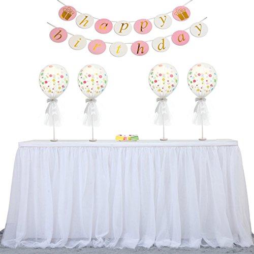 HBBMagic Anti Falten High-End Gold Brim 3 Layer Flauschige Tüll Tutu Tisch Rock Für Party, Hochzeit, Geburtstag, Weihnachten, Festival, Carniva, Feier Tischdekoration(Weiß,9 Fuß)