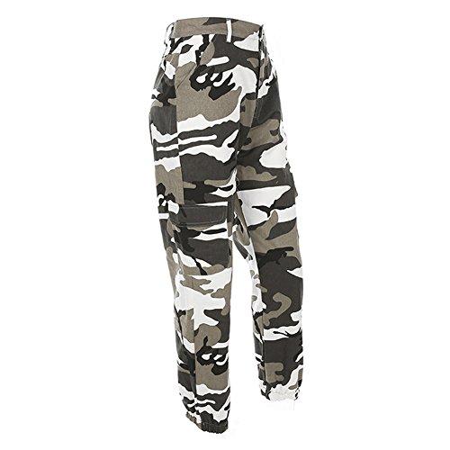 Camouflage Pantalon pour Femme - Multi-Poches Coton Casual Pantalon de Sport Yoga Pilates Jogging et Fitness Gris