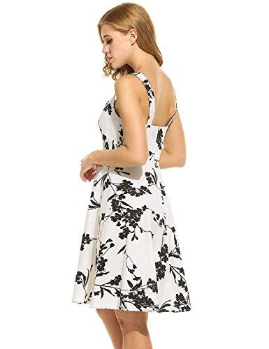 ZEARO Seay Damen Partykleider Abendkleider Cocktailkleider Schlank Ärmellose Swinger Kleider Schwarz-Weiß-Floral