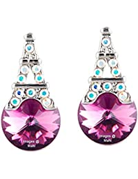 Mahi Valentine Gift With Swarovski Crystal Amethyst Blue And Pink Eiffel Tower Love Earrings For Women And Girls...