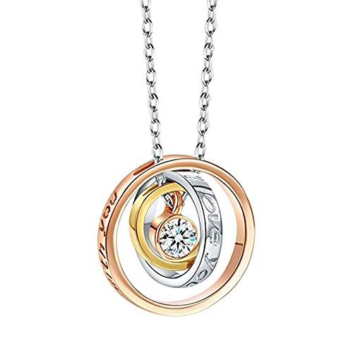 Everpert Elegante collana da donna con ciondolo, ciondolo rotondo con brillanti diamanti sintetici, idea regalo e decorazione