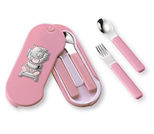 Silver Touch USA Baby Utensil Set Sterling Silver Baby Girl, Pink