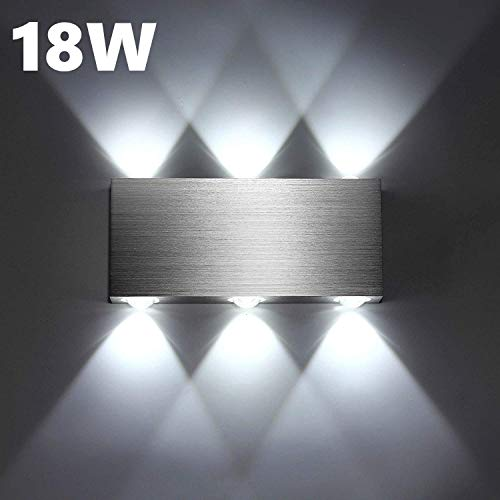 Lightess 18W Apliques de Pared LED Lámpara de Pared Moderna Luz de Puro Aluminio Interior para Dormitorio...