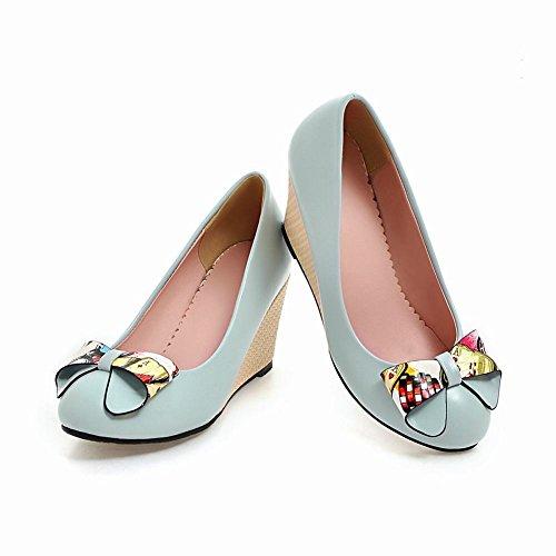 Mee Shoes Damen runde Schleife Keilabsatz Pumps Blau