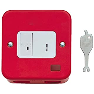 Contactum CLA3467RS 13A Key Switch DP Neon Flush Mounting Red
