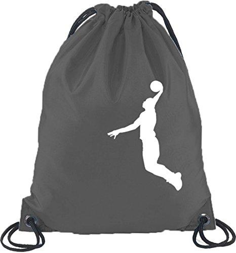 Shirtstreet24, BASKETBALL PLAYER, NBA Sport Turnbeutel Rucksack Sport Beutel Dunkelgrau