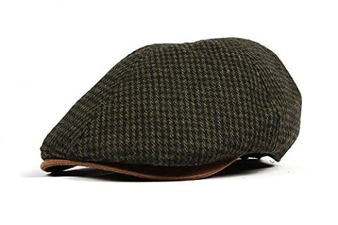 WITHMOONS Schlägermütze Golfermütze Schiebermütze Tweed Newsboy Hat faux leather brim