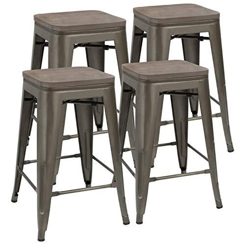 FUBON Metal Bar Stools Indoor-Outdoor Stackable Modern 24in Gun Metal Counter Height Industrial Barstools mit Holz-Sitze (Set of 4)
