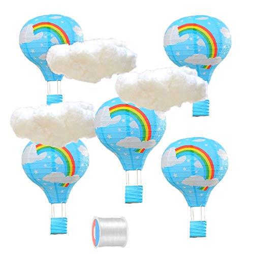 JZK 5 x Linternas + 3 x nube + sedal pesca, azul arcoiris globo aerostático lampara de papel decoraciones de techo para los niños bebé niña fiesta de cumpleaños