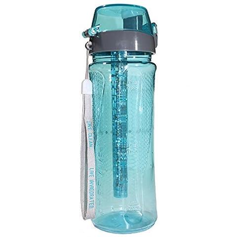 PH Revive Bouteille d'eau alcaline Ioniseur avec étui de transport par l'eau revigorée, bouteille d'eau avec purificateur naturel, portable, système de filtration, longue durée alkalizer Filtre, augmenter PH, retirer les métaux lourds, chlore et bactéries, sans BPA, 750ml (25g) 750 ml aqua