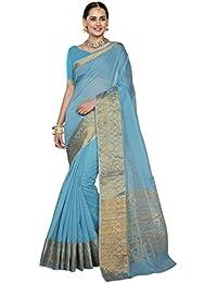 Pisara Women Chanderi Silk Saree With Blouse Piece,Blue Sari