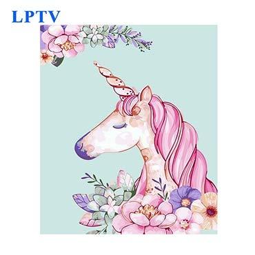 Mbywq Pintura Al Óleo Por Número Pintado A Mano Unicornio Rosado Cartel...