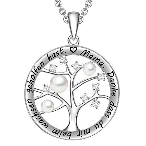 LOVORDS Damen Halskette aus 925 Sterling Silber Perle 3-4mm Lebensbaum mit Gravur Geschenk für Mama