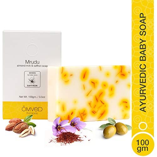 Omved MRUDU Almond Milk and Saffron Ayurvedic Baby Soap - 100% Natural, Vegan & Chemical Free - 100g