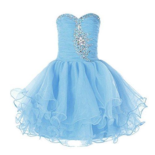 Fata coppia Bambina Raso Organza senza spalline damigella d' onore fiore ragazza vestito K0105, Leicht blau, 38