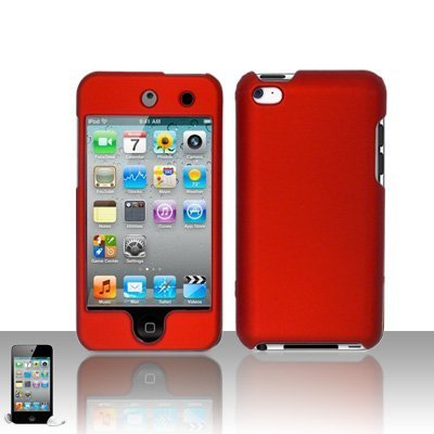 Gummierte Hard Snap on Skin Case Cover Zubehör für iPod Touch 4. Generation 4G 48gb 32gb 64gb New, Rot Ipod 4. Generation Von Skins
