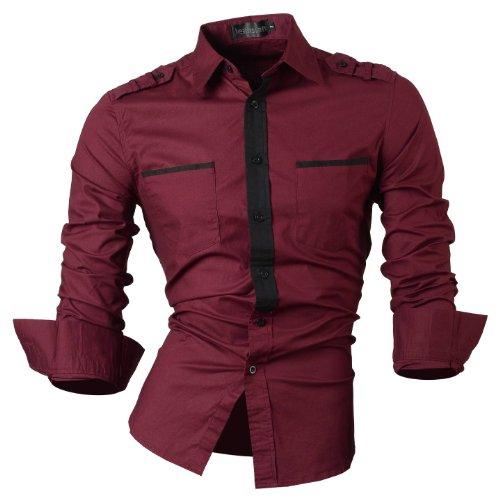 jeansian Herren Freizeit Hemden Shirt Tops Mode Langarmshirts Slim Fit 8312 8328_WineRed