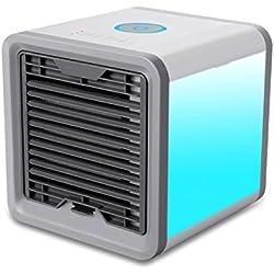 Refroidisseur d'Air Climatiseur Climatiseur Mobile Air Cooler 3 en 1 Ventilateur Climatiseur Humidificateur Purificateur d'air Multifonction, 3 Fichiers, avec 7 Couleurs Veilleuse (Blanc)