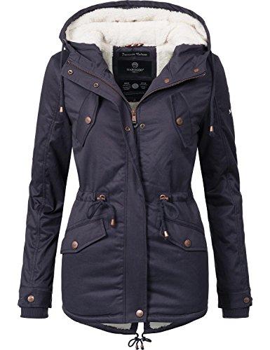 Marikoo Damen Jacke Winterjacke Baumwolljacke Kurzmantel Manolya (vegan hergestellt) Violett Gr. XL