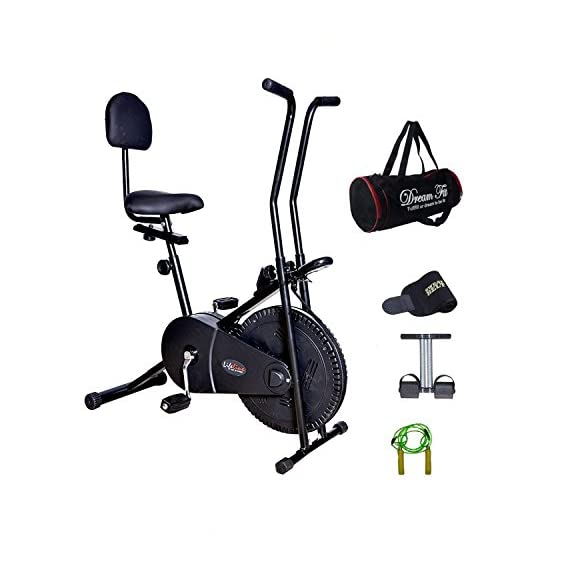 Lifeline Exercise Cycle 102 with Back Seat for Weight Loss at Home | Bonus Gym Bag,Color Tummy Trimmer & Sweat Belt and Wooden Skipping Rope