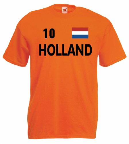 world-of-shirt Holland Herren T-Shirt Trikot Nr.10|orange L