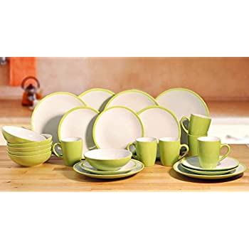 24 Piece 2Tone Green Dinner Set  sc 1 st  Amazon UK & 24 Piece 2Tone Green Dinner Set: Amazon.co.uk: Kitchen u0026 Home