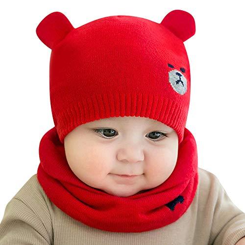 FeiliandaJJ 2Pcs Mütze+Schal Neugeborenes Baby Mütze Mädchen Jungen Baumwolle Karikatur Gestrickte Häkeln Beanie Winter Warmhalten Hut (D) - Mütze Baumwolle Gestrickte Aus