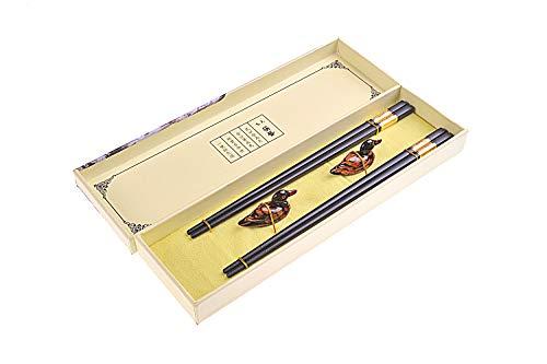 Quantum Abacus Black Metal Set de Baguettes de Luxe en Alliage métallique dans Coffret Cadeau - 2 Paires des Baguettes en métal Noir, 2 Supports en Bambou, SC-H-S2-ML-04