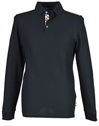 Aquascutum Herren Hillington Longsleeved CC Placket Polo Shirt, Schwarz, X-Monumental