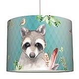 anna wand Lampenschirm FRIENDLY FOREST/MINT – Schirm für Kinder/Baby Lampe mit Dschungel-Tieren versch. Farben – Sanftes Licht für Tisch-, Steh- & Hängelampe im Kinderzimmer Mädchen & Junge