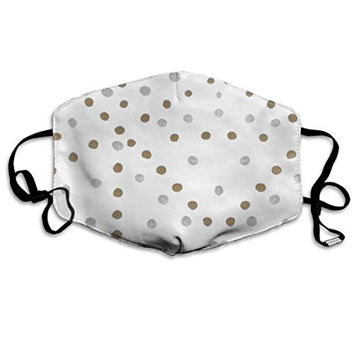 Daawqee Staubschutzmasken, Silver and Gold Polka Anti Dust Face Mouth Cover Mask Respirator Cotton Protective Breath Healthy Safety Warm Windproof Mask