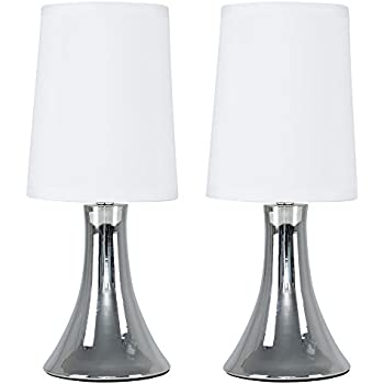 Pair of modern chrome touch table lamps with white fabric shades pair of modern chrome touch table lamps with white fabric shades aloadofball Images