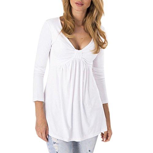 Siswong Col V Blouse,Femmes Sexy Bulle ruché Manche longue Tunique décontractée Travail OL Top blouse Blanc