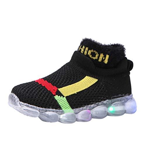 HDUFGJ Sneaker Schuhe Kinder Fliegendes Weben Warm Laufschuhe Mädchen Jungen Led Licht Leuchtende Hohe Hilfe Socken Schuhe Beleuchtete Schuhe29 EU(Schwarz)