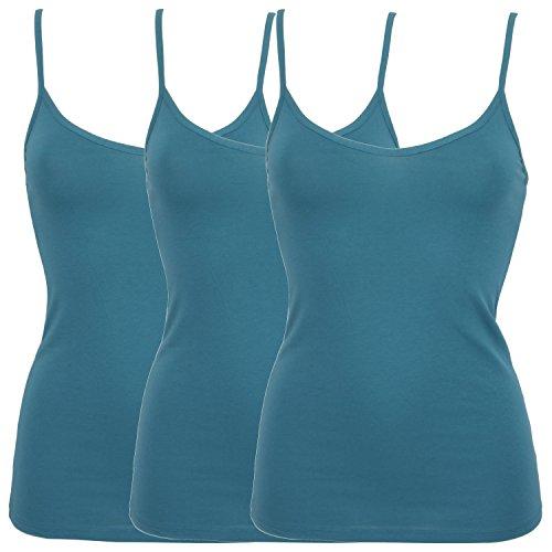 Ex-Store Damen-Unterhemd, aus Baumwolle, 3Stück 3 Turquoise