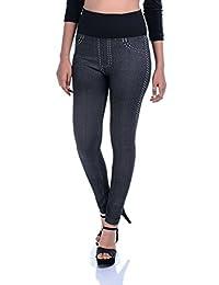 Timbre Skinny Fit Denim Printed High Waist Tummy Tuck Stretchable Lycra Black Women/Girls Jegging
