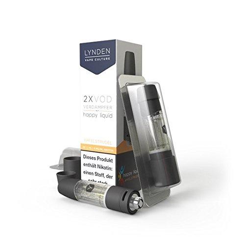 2x Lynden VOD Tank vorgefüllt mit Happy Liquids-Lynden Natural Tobacco u.a. 0mg Nikotin-510er Gewinde (Happy Liquid-Apfelstrudel)