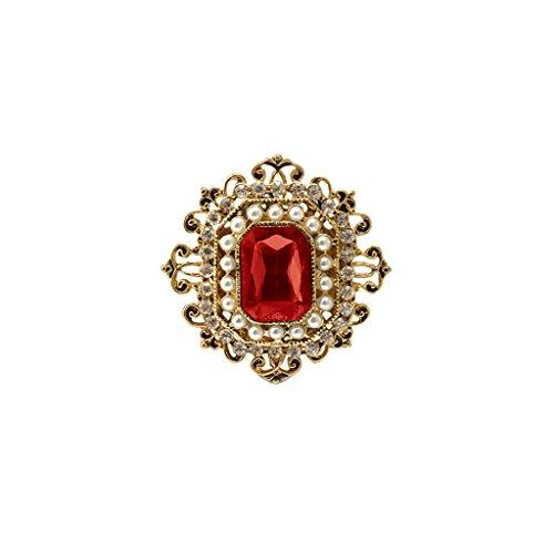 Retro Viktorianischen Kristall Rubin Blume Brosche Damen Accessoires Geschenk # 2