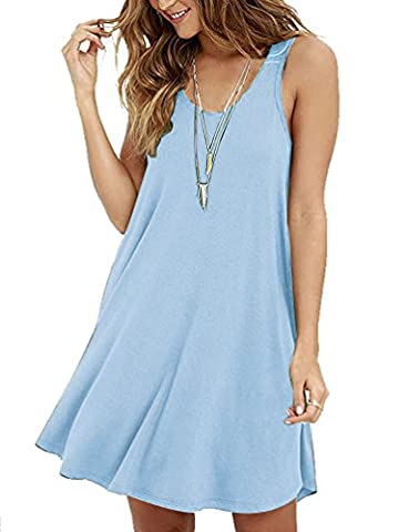 VIISHOW New Womens Swing Dress Ladies Flared Stretch Top Tunic Plus Size (Light blue S)