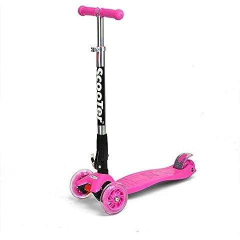 FASCOL® Patinete / Scooter de pie Plegable para Niños de 3-17 años Multifuncionales deportes al aire libre Carga máxima 70KG - Rose Red