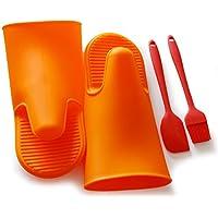 Guanti da Forno Mitts silicone resistente al calore Holder Cucina forno di cottura guanto Mitt Pot - 1 coppia arancia, pennello, spatula