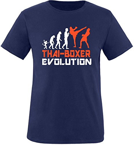 EZYshirt® Thai Boxing Evolution Herren Rundhals T-Shirt Navy/Weiss/Orange
