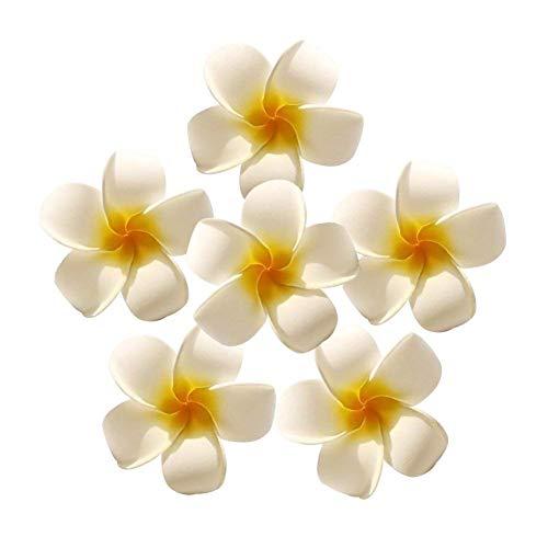 HAKACC 50 Stück Frangipani Haarschmuck Hawaii Blumen Spange Schmuck Haare Blume Schaum Haarspange Hochzeitsdekoration Blumen
