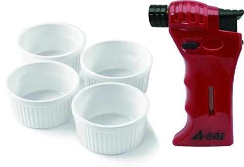A-One Küche Werkzeug, Rot Mini Kochen Taschenlampe mit 4rund Auflaufförmchen mit Sicherheit Schloss und Flamme verstellbar